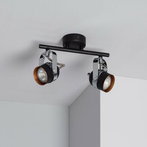 Lampe de Plafond Orientable Sinner 2 Spots Noir Noir
