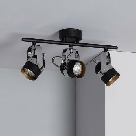 Lampe de Plafond Orientable Sinner 3 Spots Noir Noir