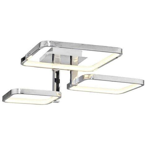 Lampe de Plafond Plaza Plafonnier - Carree - Murale - Chrome en Metal, 55 x 55 x 20 cm, 1 x LED, 57W, 5985LM, 4200K Lumiere Blanc Naturel