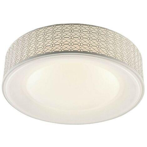 Lampe de Plafond Salvo Plafonnier - Ronde - Murale - Blanc en Metal, 50 x 50 x 12 cm, 1 Bande de LED, 34W, 3570LM, 4000K Lumiere Blanc Naturel
