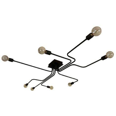 Lampe de Plafond Spider - Plafonnier - du mur - Noir en Metal, peinture electrostatique, 180 x 120 x 15 cm, 8 x E27, Max 60W