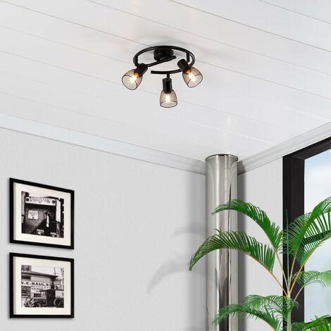 Lampe de Plafond Spirale Orientable Grid 3 Spots Noir Noir