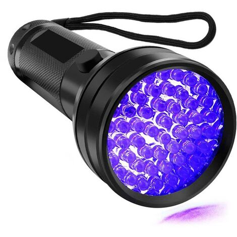 Lampe de poche UV Lumières UV de lumière noire, détecteur d'urine d'animal familier de lumière noire ultraviolette de 51 LED pour l'urine de chien / chat, taches sèches, punaise de lit, assortie à l'éliminateur d'odeur d'animal familier