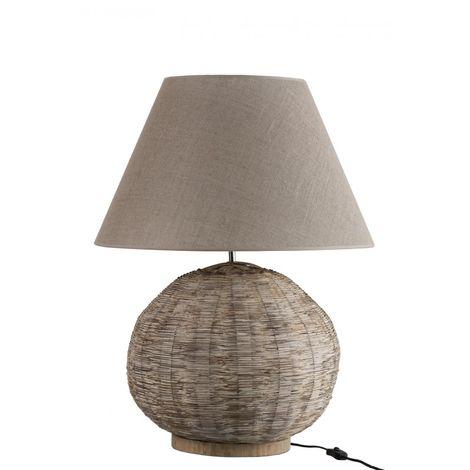 Lampe de salon ronde en bambou beige
