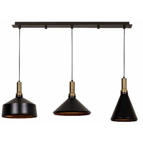 Lampe de suspension Multi - Lustre - Lustre de plafond - Cuivre, noir en Metal, peinture electrostatique, 130 x 36 x 134 cm, 3 x E27, Max 100W