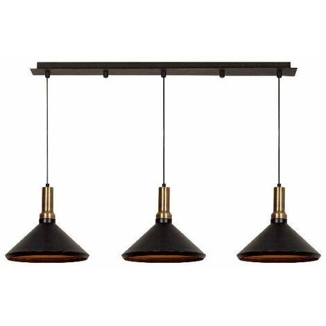 Lampe de suspension Multi - Lustre - Lustre de plafond - Cuivre, noir en Metal, peinture electrostatique, 135 x 36 x 127 cm, 3 x E27, Max 100W
