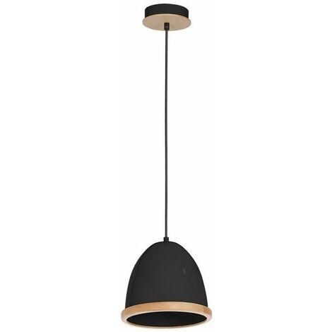 Lampe de suspension Studio - Lustre - Plafonnier - Noir en Metal, Bois, 21 x 21 x 90 cm, 1 x E27, 60W