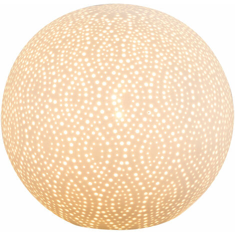 Lampe de table à écrire Lampe en porcelaine câble 1,8 m boule décorative poinçonnage blanc mat