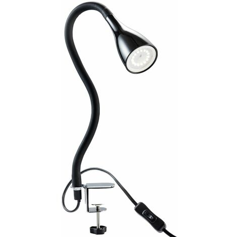 Lampe de table à pince LED dimmable lampe de lecture flexible lampe de chevet noire 5W