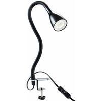 Lampe de table à pince LED dimmable lampe de lecture flexible lampe de chevet noire 5W A+