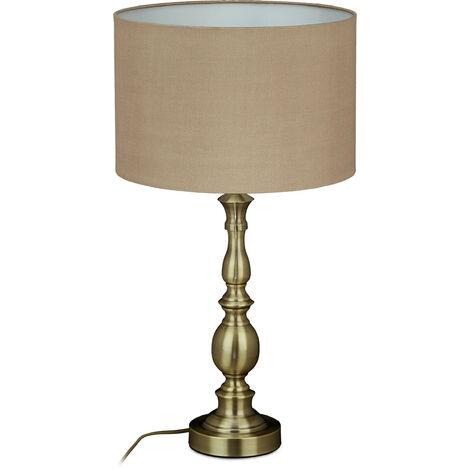 lampe de table, abat-jour, douille E27, salon et chambre a coucher, vintage, de chevet, HxD 57x30,5; doré