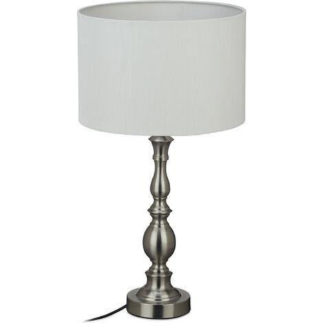 lampe de table, abat-jour, douille E27, salon et chambre a coucher, vintage, de chevet, HxD 57x30,5cm;argenté
