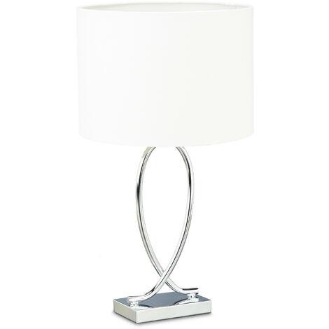 Lampe de table argenté abat-jour rond lampe de chevet moderne design fer HxlxP: 51 x 28 x 28 cm, blanc