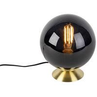 Lampe de table Art Deco laiton avec abat-jour en verre noir - Pallon Qazqa Art Deco Luminaire interieur Rond