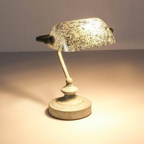 Lampe de table avec abat-jour en feuille d'argent patiné ANTIQUE