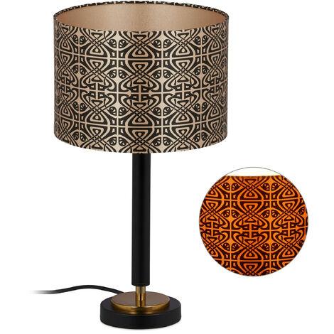 Lampe de table avec abat-jour, motifs abstraits, E27 Veilleuse, tissu et métal, HxD 42 x 23,5 cm noir-doré