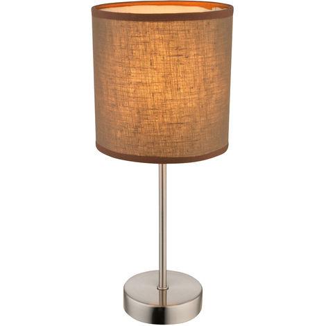 Lampe de table avec parasol textile en marron pour BETTY