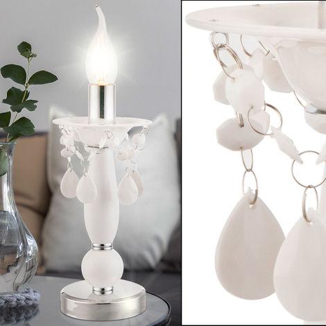 Lampe de table, bougeoir, blanc H 25 cm, CUIMBRA