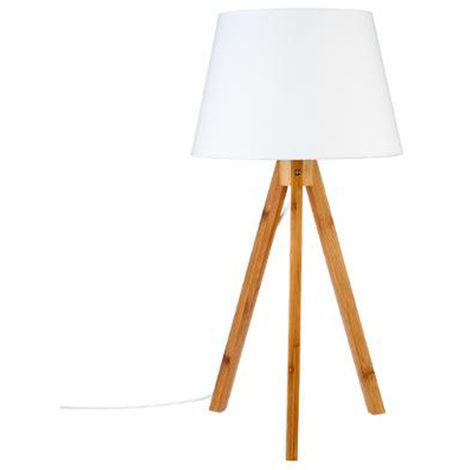 Lampe de table coloris Blanc en polyester et Bambou - Dim : H55.5 x D28 cm