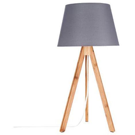 Lampe de table coloris Gris en polyester et Bambou - Dim : H55.5 x D28 cm