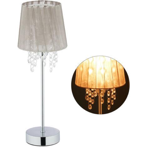 Lampe de table cristal, Abat-jour en organza, pied rond, veilleuse, HxD 41 x 14,5 cm, gris/argenté