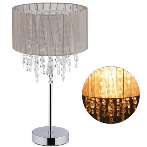 Lampe de table cristal, Abat-jour en organza, pied rond, veilleuse, HxD, gris/argenté 43 x 24 gris/argent