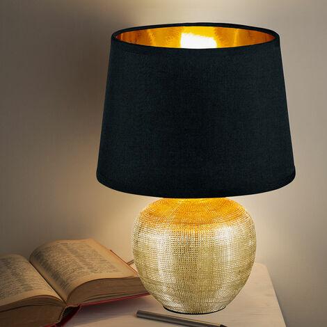 Lampe de table de chevet en céramique avec écritures GOLD BLACK lampe de salon en textile Reality R50621079