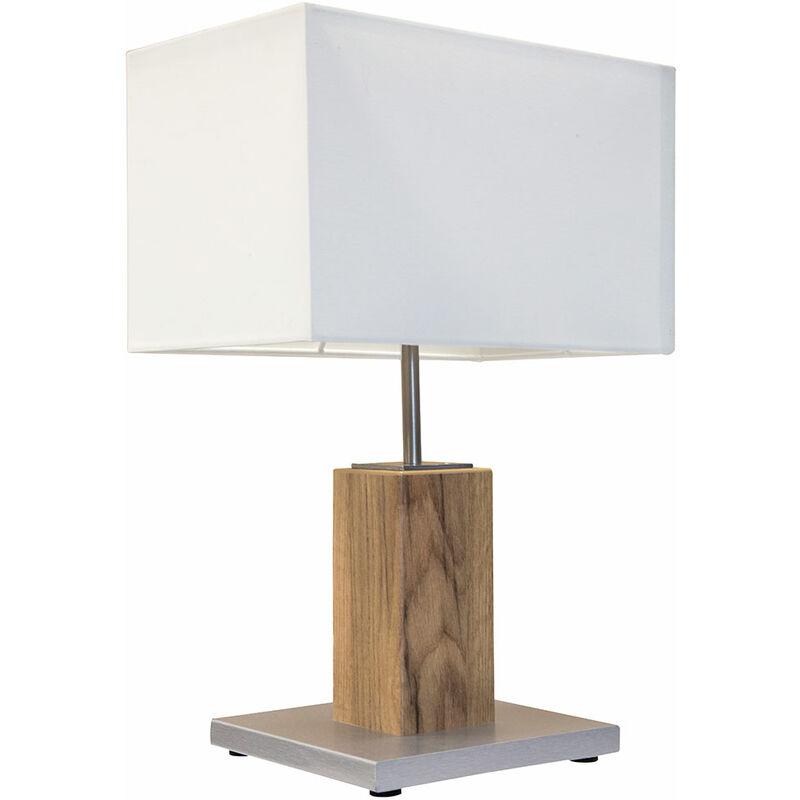 Etc-shop - Lampe de table d'écriture de nuit en textile salon salle à manger éclairage lampe d'appoint en bois chêne dans un ensemble comprenant des