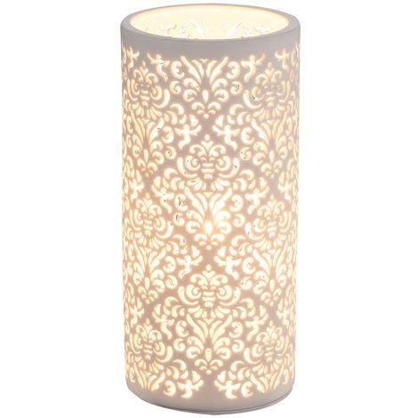 Lampe de table design côté salon décor modèle lampe porcelaine blanche Globo 15918T