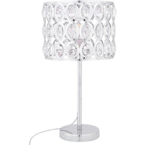 Lampe de table design élégant en métal chromé avec des petits cristaux acryliques
