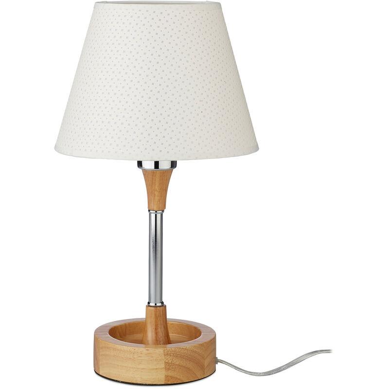 Lampe de table design, métal, socle bois, lampe deco lampe de chevet abat jour motif H x Ø: 42 x 23 cm, blanc