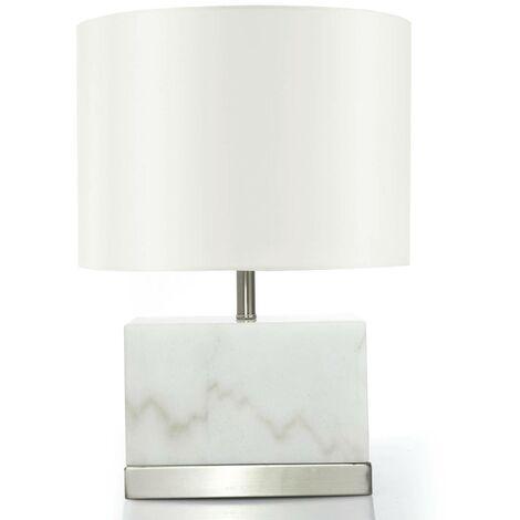 Lampe de table Elgira Marbre Blanc - Blanc / Argent