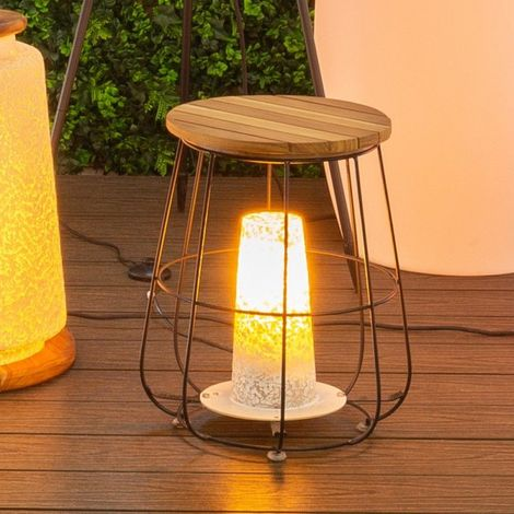 Lampe De Table En Bois Et Acier Noir Aveiro L 3650 X L 3650 X H