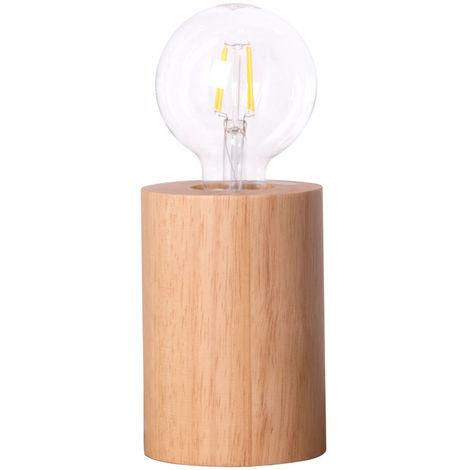 Lampe de table en bois filament salon chambre éclairage rétro lampe de lecture design naturel dans un ensemble comprenant un illuminant LED