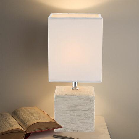 Lampe de table en céramique et en textile GERI beige