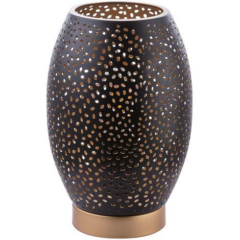 Lampe de table en or noir avec abat-jour décoratif