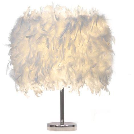 Lampe de table en plumes Blanc Lampes de Chevet Abat-jour + C?bles