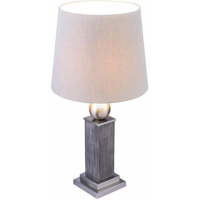 Etc-shop - Lampe de table en bois, salon, salle à manger, lampe textile, ensemble de contrôle comprenant des ampoules à LED RVB
