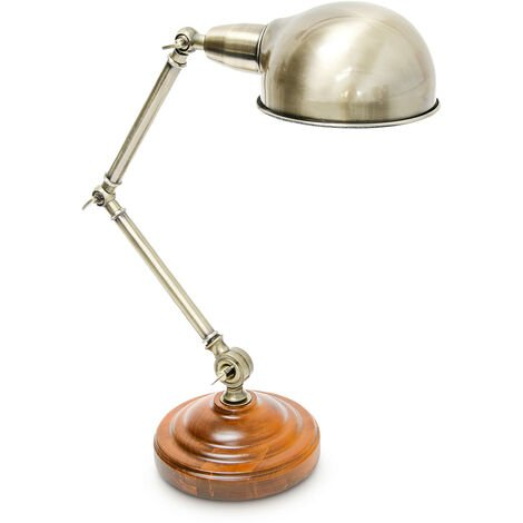 Lampe de Table inclinable style industriel design Lampe de Bureau effet laiton bois hauteur réglable