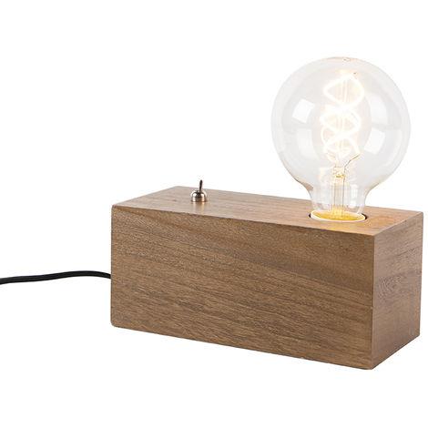 Lampe de table industrielle en bois - Quad Qazqa Rustique,Industriel Luminaire interieur