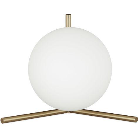 Lampe de table laiton GLOBI forme ronde boule en verre design moderne métal HxlxP: 25 x 33 x 22 cm, mat