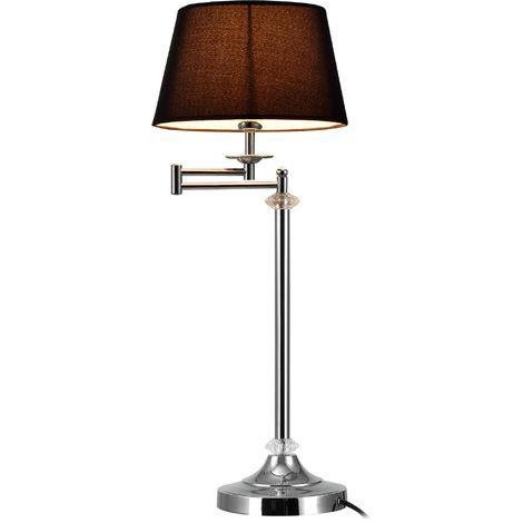 Lampe de Table Lampe de Bureau Élégante Métal Poli Cristal Artistique Noir Argent ø 24 cm 60 cm