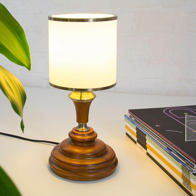 Lampe Table Luminaire Avec Acajou Aspect De Bois En Verre Chevet Opale ulFcKJ31T