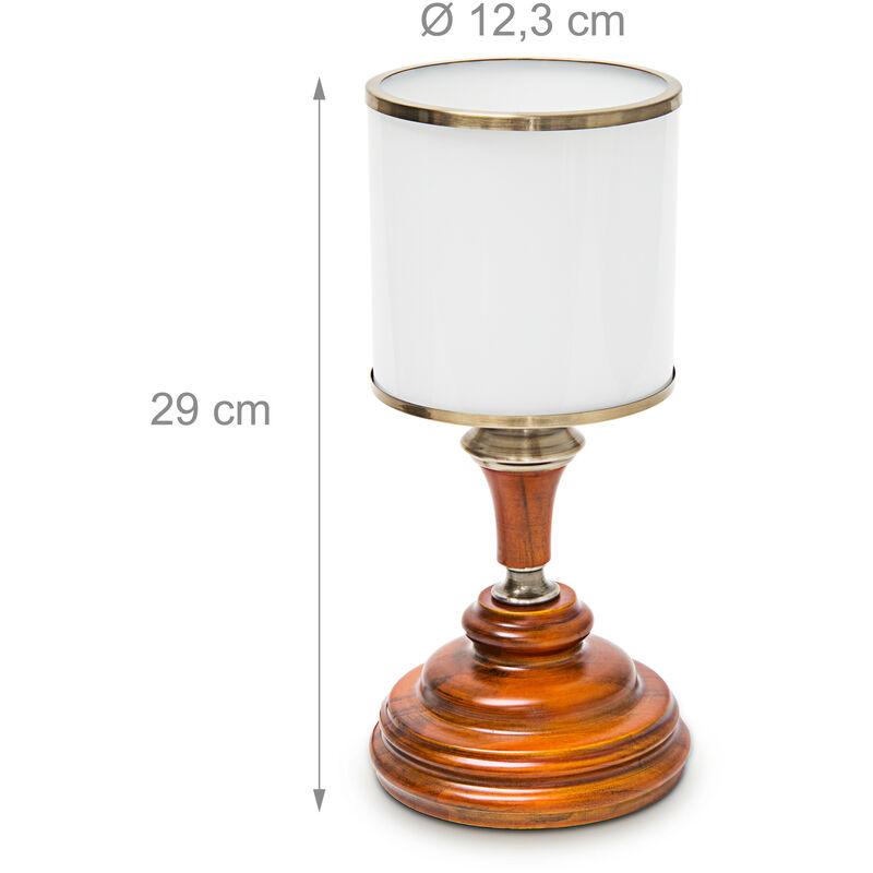 Acajou Chevet Table Lampe Opale Avec Verre Bois Aspect En Luminaire De eHW2I9EYD