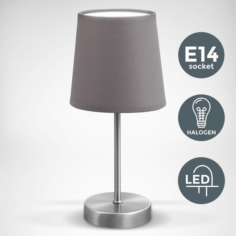 Lampe de table lampe de lecture lampe de chevet lampe d'appoint tissu gris culot E14 grau LED