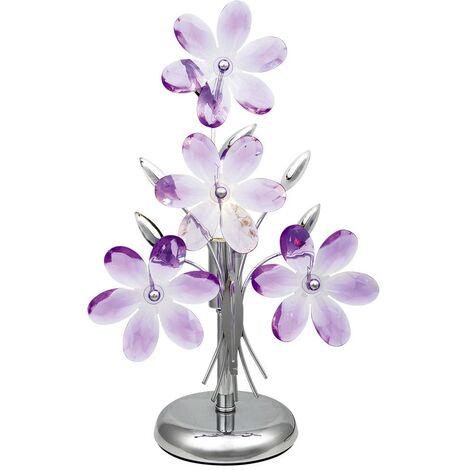 Lampe de table LED avec des feuilles d'acrylique violet