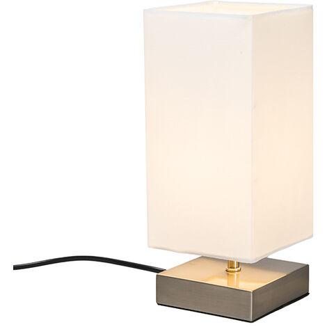 Lampe de table Moderne blanc avec acier - Milo Qazqa Design, Industriel / Vintage, Moderne Luminaire interieur