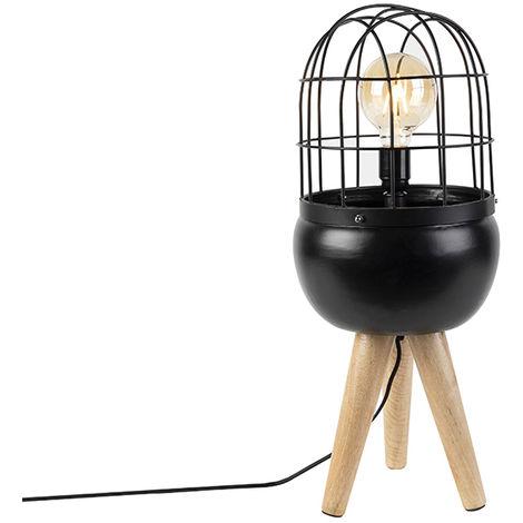 Lampe de table Moderne noir sur trépied en bois - Birds Qazqa Moderne, Rustique Luminaire interieur Globe Rond