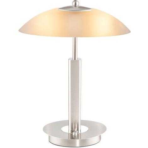 Lampe de table, ovale, chrome, verre, opale blanche, H 34 cm