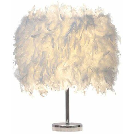 Lampe de Table Plume Blanche Moderne Lampe de Bureau Chambre Enfants Chambre